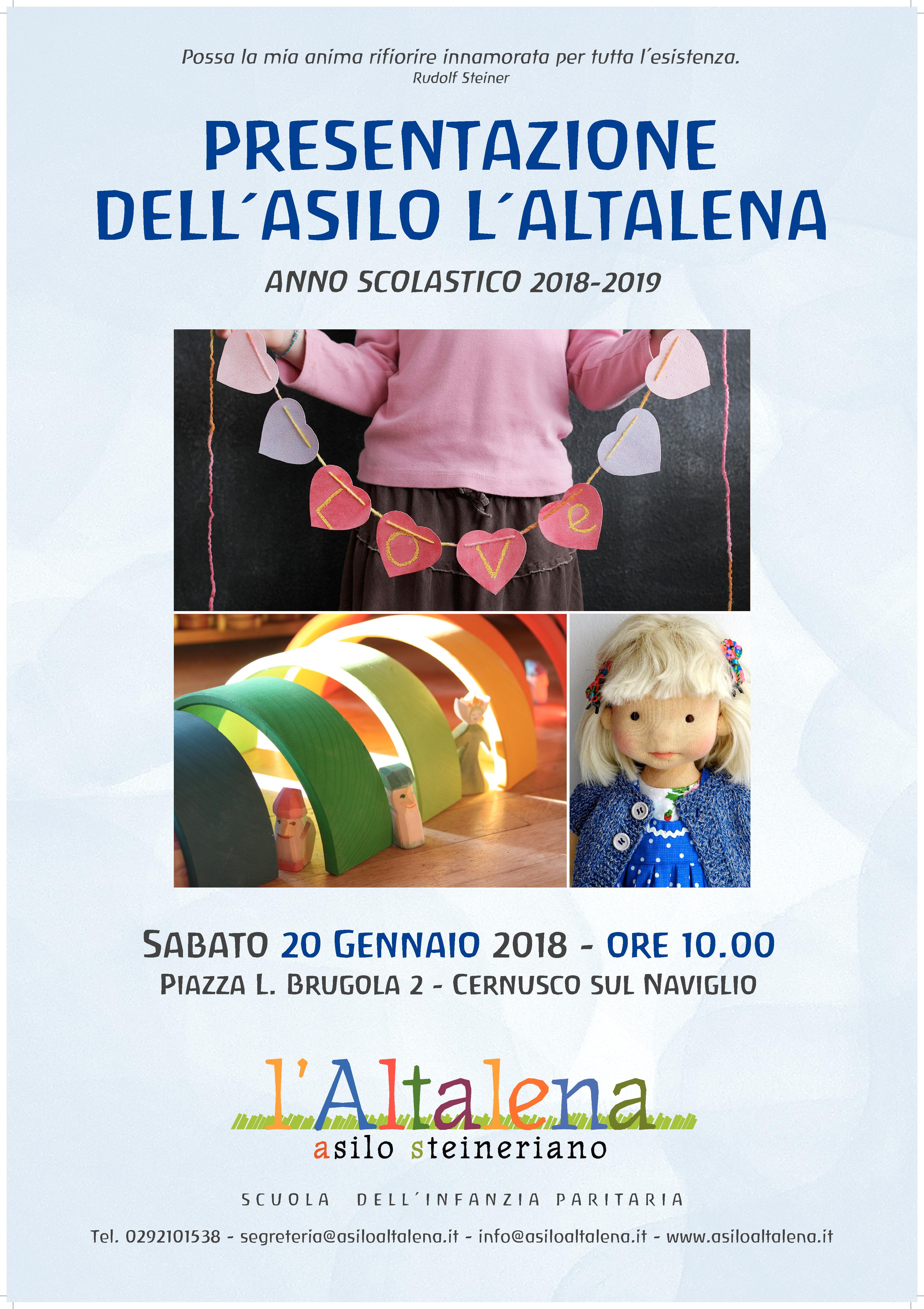 Presentazione l'Altalena a.s. 2018/19 sabato 20 gennaio ore 10.00